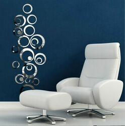 US 3D Circle Mirror Wall Sticker Removable Decal Acrylic Art Mural Home Decor $7.43