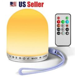 Touch Sensor Bedside Table Lamps + Dimmable Warm White Light & RGB Color Change $23.77