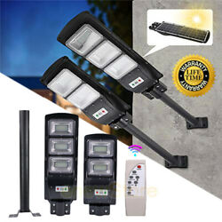 100000LM Commercial Solar Street Light LED Outdoor IP67 Dusk Dawn Road Lamp+Pole $73.59