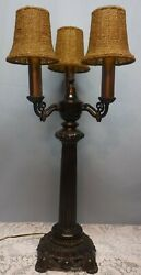 Vintage Three Arm Candelabra Table Lamp with Beaded Shades $149.99