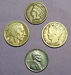 1 Mix Lot of 4 Old US Coins NO LONGER FOUND IN POCKET CHANGE $5.50