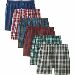 3-12 pack Mens Checker Plaid Shorts Assorted Cotton Boxers Trunks Underwear $10.99