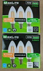 6 pack Candelabra B10 LED Light Bulbs 2700k 40W 300L Equivalent C12 E12 Dimmable $9.99