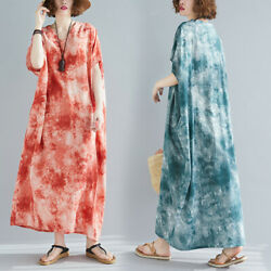 Womens Ladies Cotton Floral Printed Short Sleeves Loose Oversize Maxi Dress Gown