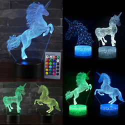 Unicorn 3D illusion Visual LED Night Light 16 Color Table Desk Lamp For Kid Gift $14.87