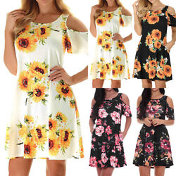 Womens Summer Sunflower Cold Shoulder Mini Dress Holiday Casual Party Sundress $11.87