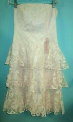 Pink vintage lace 80#x27;s pretty in pink ruffled tube top dress size s m $26.99