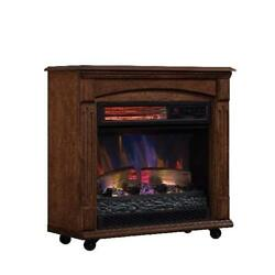 Electric Fireplace Infrared Quartz Heater LED Flame Freestanding Remote Control $125.10