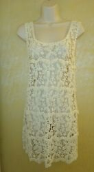 solitaire Ivory Cream Crochet Cover Up cutout floral fringe daisies sun Dress WS $13.00