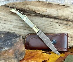 Laguiole French Camping Knife Damascus Steel Folding Knife Corkscrew Custom Made $31.99