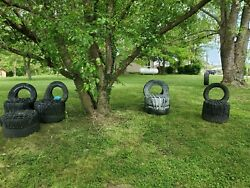 4 Yard Chair Set Tire Chair Man Cave Yard Decor She Shed recycled tire foot rest