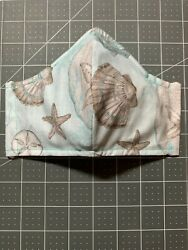 Handmade Adult OR Child Cotton Beach Seashells Face Mask Filter Pocket Nose Wire $15.00