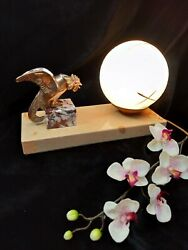 French Night Table Reading Rooster Lamp Art Deco Vintage Bedroom Marble Globe $139.00