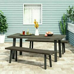 Altair Outdoor Modern Industrial 3 Piece Aluminum Dining Set with Benches $662.89