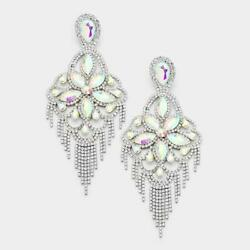 6quot; AB Rhinestone Floral Fringe Chandelier Clip On Earrings in Silver Setting 7 $20.99