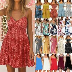 Womens Boho Floral Summer Beach Dress Party Casual Holiday Mini Midi Sundress $12.53