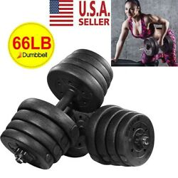 Totall 66 LB Weight Dumbbell Set Adjustable Cap Gym Barbell Plates Body Workout $129.99