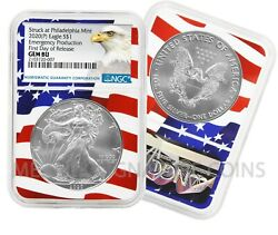 2020 P $1 American Silver Eagle NGC GEM BU Emergency Production Flagcore $64.95