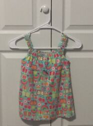 Green Dog Girls Tank Top With Butterflies Rainbows Size 6 New W Tags $4.99