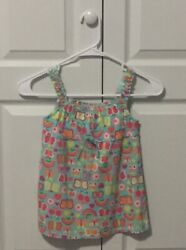 Green Dog Girls Tank Top With Butterflies Rainbows Size 5 New W Tags $4.99