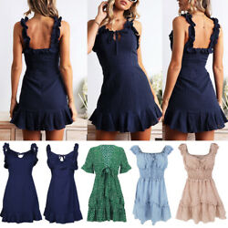 Women Ladies Ruffle Mini Dress Casual Summer Beach Holiday Party Swing Sundress $10.92
