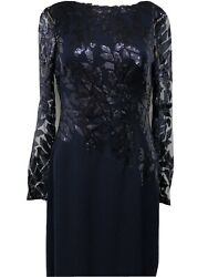 Tadashi Shoji (NEW) Navy Embroidered Floral Lace Evening Gown Formal Dress 12
