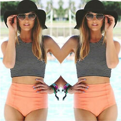 Women Striped High Waist Bikini Set Padded Tank Beach Swimsuit Swimwear Swimming $15.57