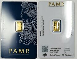 1 Gram Pure Gold Bar IN ASSAY CARD PAMP Suisse Lady Fortuna Veriscan .9999 Fine