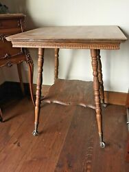 Square Antique Table with Claw Feet $100.00