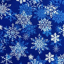 Snowflakes on Blue Merry Christmas Print 100% Cotton Fabric  $10.55
