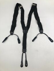 "VTG Black 1"" Suspenders Adjustable Button Leather Fittings Mod Skinhead $16.99"