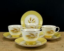Vintage Century Service Autumn Gold Cups Saucers Set 4 Wheat China $15.00