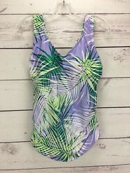 Swimsuits For All Lilac Palm Tree Print One Piece Swimsuit Skirted Size 14 NEW $29.99