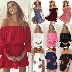 Womens Off Shoulder Summer Tunic Dress Boho Holiday Beach Bandeau Mini Sundress $15.67