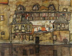 Egon Schiele House Wall on the River Poster Reproduction Giclee Canvas Print $22.37