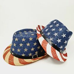 Patriotic Fedora Straw Hat American USA Flag Sun Beach Old Glory Star Women S M $9.90