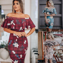 Women Off Shoulder Ruffles Floral Printed Dress Ladies Summer Bodycon Mini Dress $9.99