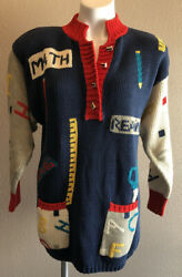 Lisa Nichols Novelty Teacher School Themed Thick Knit Pullover Sweater Large $40.00