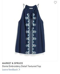 Stitch Fix Small Market & Spruce Donie Embroidery Detail Textured Top Tank $25.00