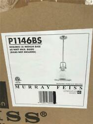 **Murray Feiss Parker Place 2 Light Mini Pendant 13quot; Brushed Steel Glass P1146BS $109.99