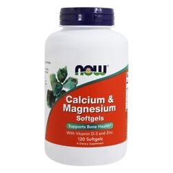 NOW Foods Calcium Magnesium with Vitamin D and Zinc 120 Softgels $13.15
