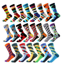 Mens Funny Cotton Socks Novelty Colorful Argyle Stripe Dots Dress Socks For Gift $3.25