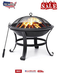 Outdoor Fire Pit Steel BBQ Grill Durable Steel Backyard Garden Beaches Camping