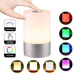 Night Light Touch Sensor Lamp Bedside Table Lamp Bedroom Dimmable Light + RGB US $11.75