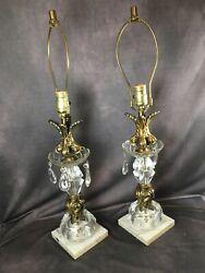 Pair Lamps Alabaster Marble Brass Italian Neoclassical Hollywood Regency WORK $124.99