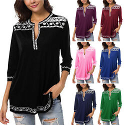 Womens 34 Sleeve V Neck T Shirt Blouse Summer Casual Loose Tunic Tops Plus Size $12.34