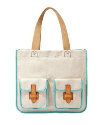 FOSSIL Medium Canvas Tote Purse Bag Flap Pockets Beige With Blue Accent