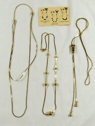 VTG Lot of 3 Gold Tone Zipper Slide a bid Chain Lariat Cascade Necklace $30.00