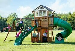 Large Cedar Wood Playground Swing Set Play Set 2 Slides Clubhouse $1,749.90