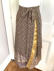 Silk BOHO Indian Wrap Skirt Hippie Earth tones sari Large L layered reversible $19.00